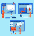 web development concept set with people building vector image