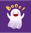 white ghost saying boo cute halloween spooky vector image