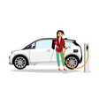 woman with electric car vector image vector image