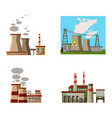 power plant icon set cartoon style vector image