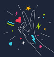 a gesture with fingers hand two vector image