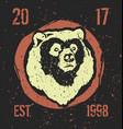 bear head label vector image