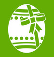 big easter egg icon green vector image vector image