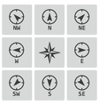 black wind rose icons set vector image