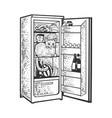 cat in fridge sketch vector image vector image