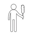 cleaner man and cleaning tool equipment people vector image
