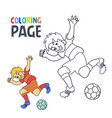 coloring page with soccer football player cartoon vector image vector image