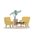 cozy home interior with house plant palm coffee vector image vector image