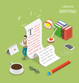 flat isometric concept of creative writing vector image vector image