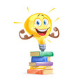 funny idea lamp with muscles standing on books vector image
