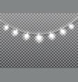 garland glowing light bulbs christmas and new year vector image