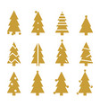 golden silhouette christmas trees stylized simple vector image