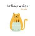 greeting card with cat and cake vector image