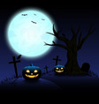 halloween night with blue moon and pumpkins vector image vector image