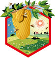 hexagon frame with worker bees on the flowers and vector image vector image
