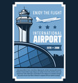 international airport airplane flying in sky vector image vector image