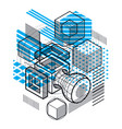 isometric abstraction with lines and different vector image vector image