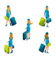 isometry of the stewardess with luggage vector image