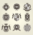 knight shields and royal coat arms set vector image vector image