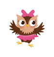 lovely little owlet girl wearing pink skirt and vector image vector image