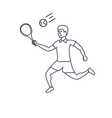 man tennis playing with racket vector image vector image