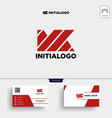 mk initial logo template and business card vector image