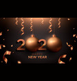 new year 2020 gold copper card 3d holiday ball vector image