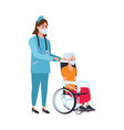 nurse attending old woman in wheelchair character vector image vector image