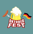 Oktoberfest beer and sausages German flag Beer vector image vector image