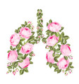 pink roses in form human lungs as symbol of vector image