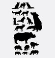 rhinoceros and fox silhouettes vector image