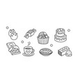 set hand drawn sweet food an and drink vector image