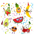 set of funny fruit characters having party vector image vector image