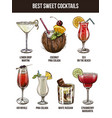 set of seven summer cocktails vector image vector image