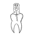 sketch of the tooth with defect and ugly creature vector image vector image