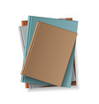 stack blank books top view various blank vector image vector image