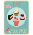 Sweets retro poster vector image vector image