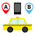 taxi car cab icon placemark map pointer vector image vector image