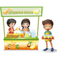 Three kids selling refreshing drinks vector image vector image