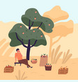 tired man sitting on bench eating apple relaxing vector image vector image