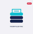 two color folder filled tool icon from files and vector image vector image