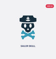 Two color sailor skull icon from shapes concept