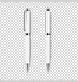 two white realistic pen on transparent background vector image vector image