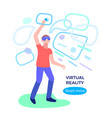 virtual reality man with glass headset network vector image
