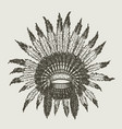 warchief indian headdress vector image