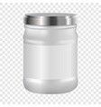 white blank cosmetic with silver lid mockup vector image vector image