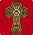 Golden cross ornament vector image
