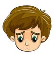 A head of a sad young boy vector image