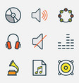 audio colored outlines set collection of vector image