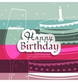 Birthday card on stripes colorful background vector image